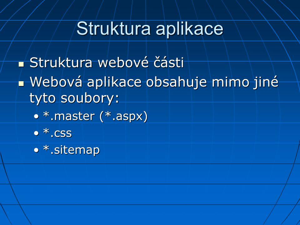 Struktura aplikace Struktura webové části Struktura webové části Webová aplikace obsahuje mimo jiné tyto soubory: Webová aplikace obsahuje mimo jiné t
