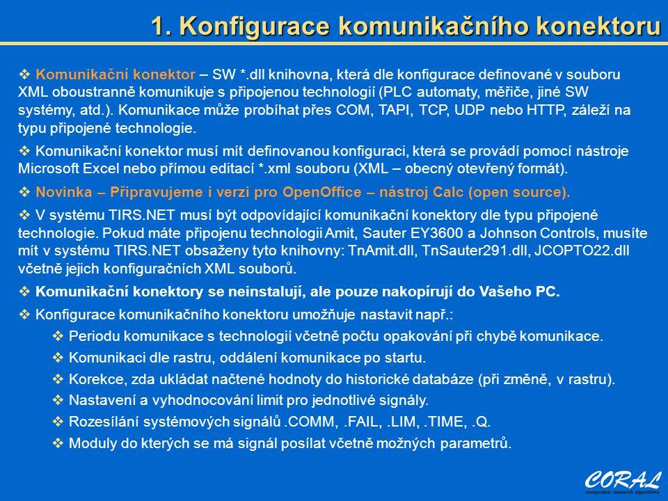  Komunikační konektor – SW *.dll knihovna, která dle konfigurace definované v souboru XML oboustranně komunikuje s připojenou technologií (PLC automa