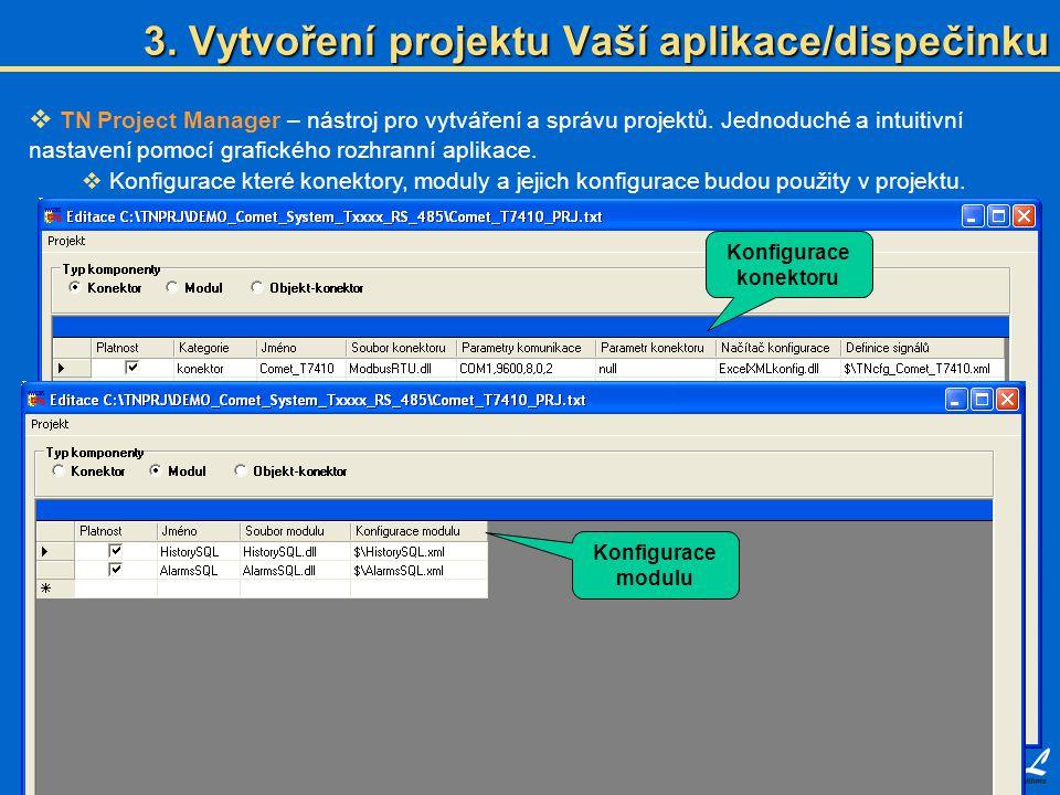  TN Project Manager – nástroj pro vytváření a správu projektů. Jednoduché a intuitivní nastavení pomocí grafického rozhranní aplikace.  Konfigurace