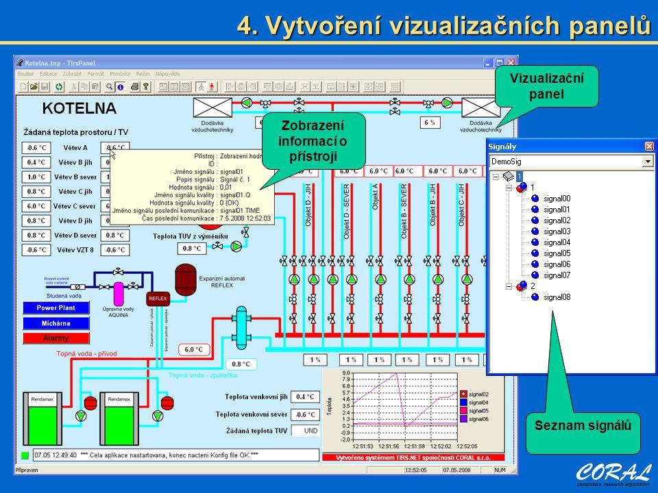 4. Vytvoření vizualizačních panelů Vizualizační panel Zobrazení informací o přístroji Seznam signálů