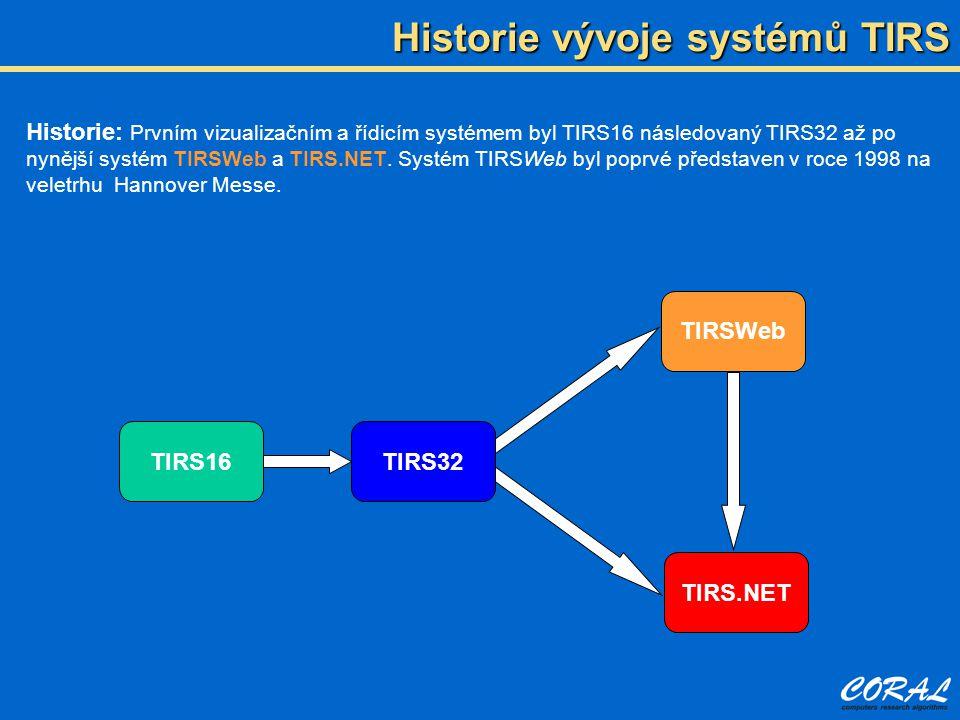 Historie vývoje systémů TIRS TIRS16TIRS32 TIRS.NET TIRSWeb Historie: Prvním vizualizačním a řídicím systémem byl TIRS16 následovaný TIRS32 až po nyněj