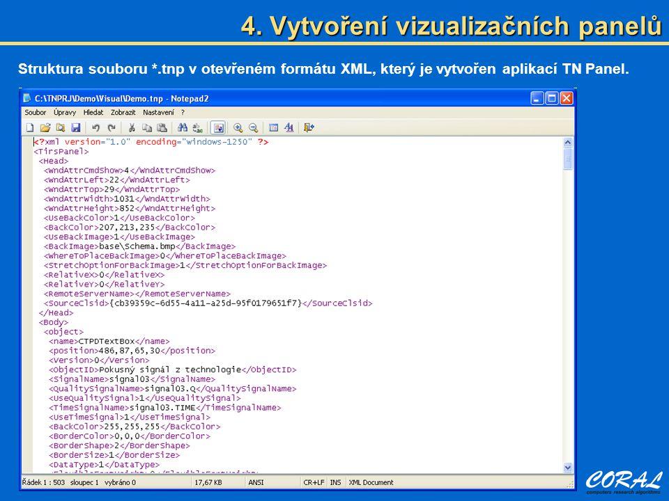 4. Vytvoření vizualizačních panelů Struktura souboru *.tnp v otevřeném formátu XML, který je vytvořen aplikací TN Panel.