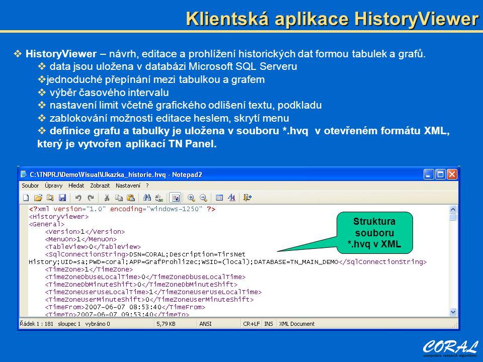  HistoryViewer – návrh, editace a prohlížení historických dat formou tabulek a grafů.  data jsou uložena v databázi Microsoft SQL Serveru  jednoduc