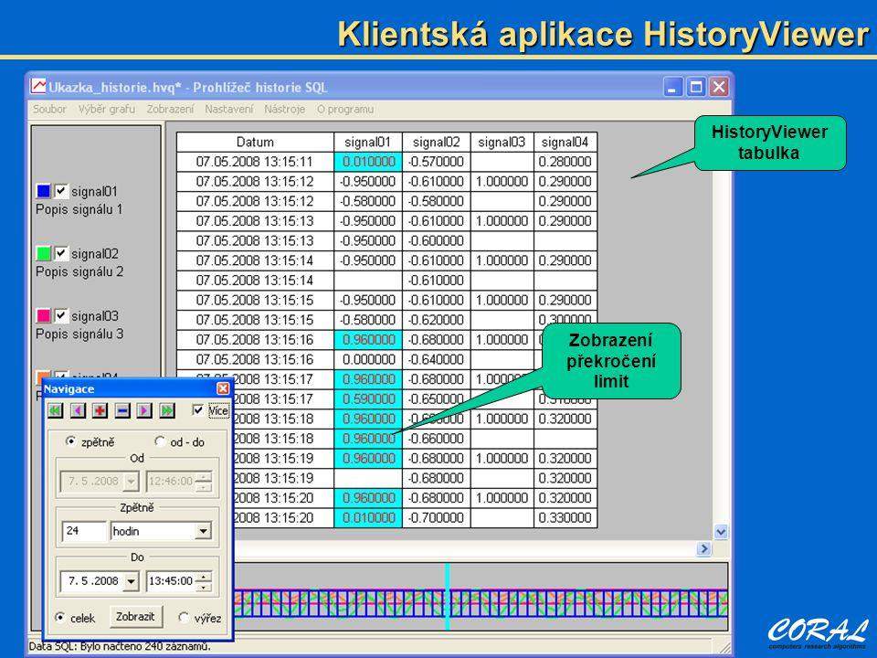 Klientská aplikace HistoryViewer Zobrazení překročení limit HistoryViewer tabulka