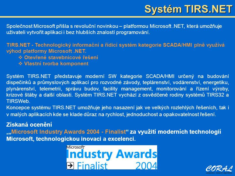 Hlavní přednosti systému TIRS.NET  Dispečerské aplikace systému TIRS.NET nevznikají programováním, ale konfigurací s využitím do systému zabudovaných nástrojů.