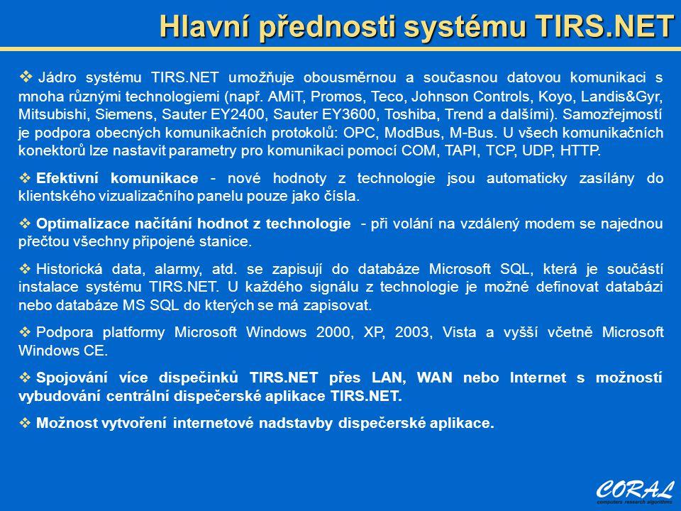 Hlavní přednosti systému TIRS.NET  Jádro systému TIRS.NET umožňuje obousměrnou a současnou datovou komunikaci s mnoha různými technologiemi (např. AM