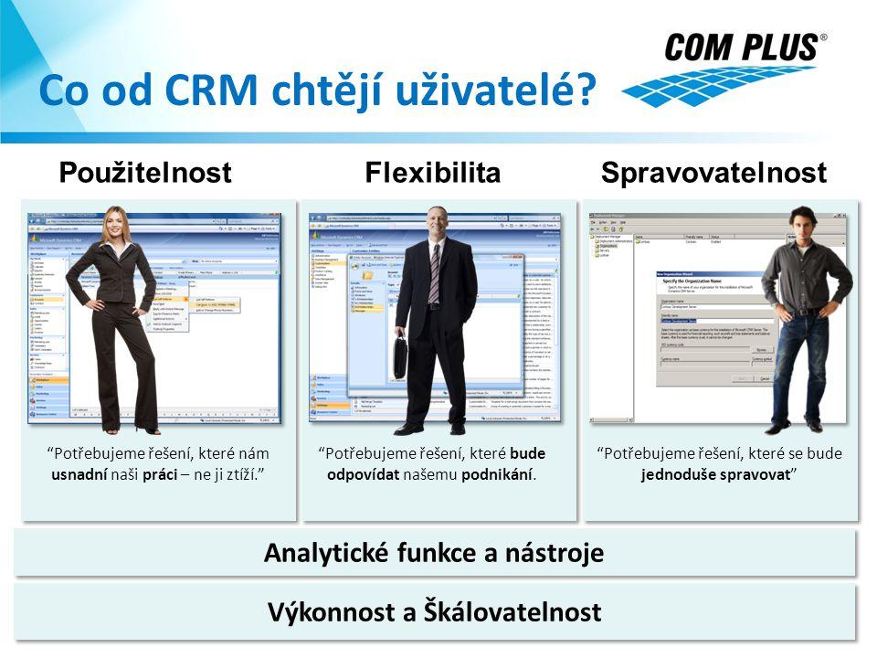 """Analytické funkce a nástroje Co od CRM chtějí uživatelé? SpravovatelnostFlexibilitaPoužitelnost """"Potřebujeme řešení, které se bude jednoduše spravovat"""