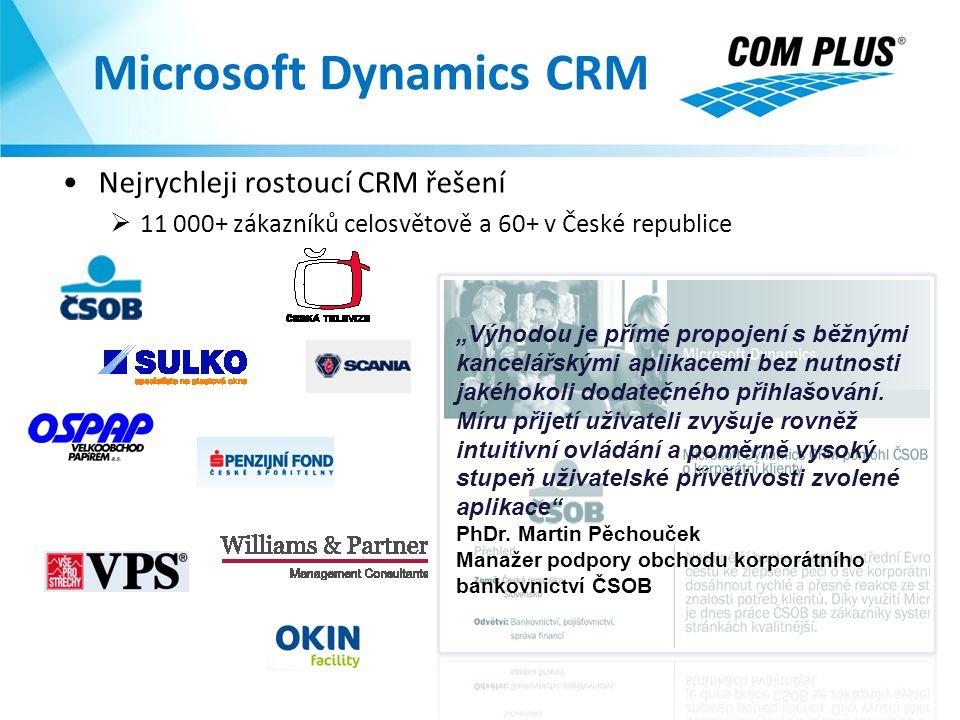 """Microsoft Dynamics CRM Nejrychleji rostoucí CRM řešení  11 000+ zákazníků celosvětově a 60+ v České republice """"Výhodou je přímé propojení s běžnými k"""