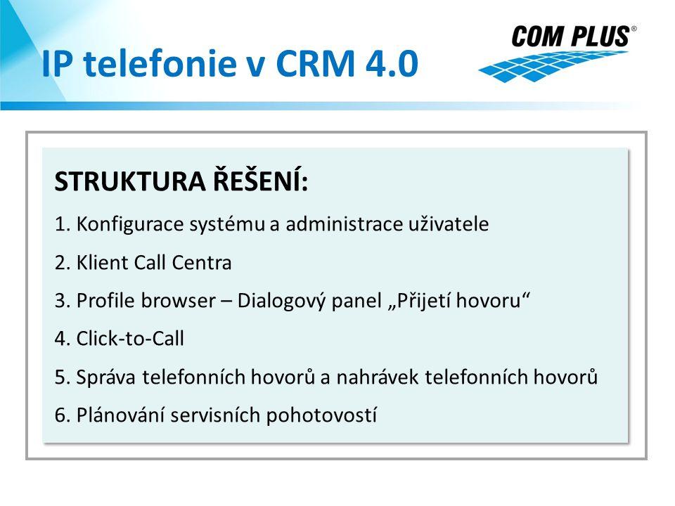 """IP telefonie v CRM 4.0 STRUKTURA ŘEŠENÍ: 1. Konfigurace systému a administrace uživatele 2. Klient Call Centra 3. Profile browser – Dialogový panel """"P"""