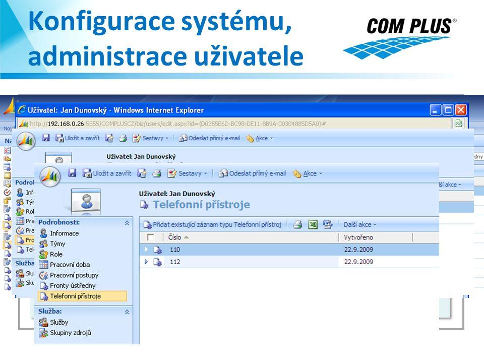 Konfigurace systému, administrace uživatele KONFIGURACE SYSTÉMU: - Fronty telefonní ústředny - Telefonní přístroje - Uživatel a Role zabezpečení KONFI