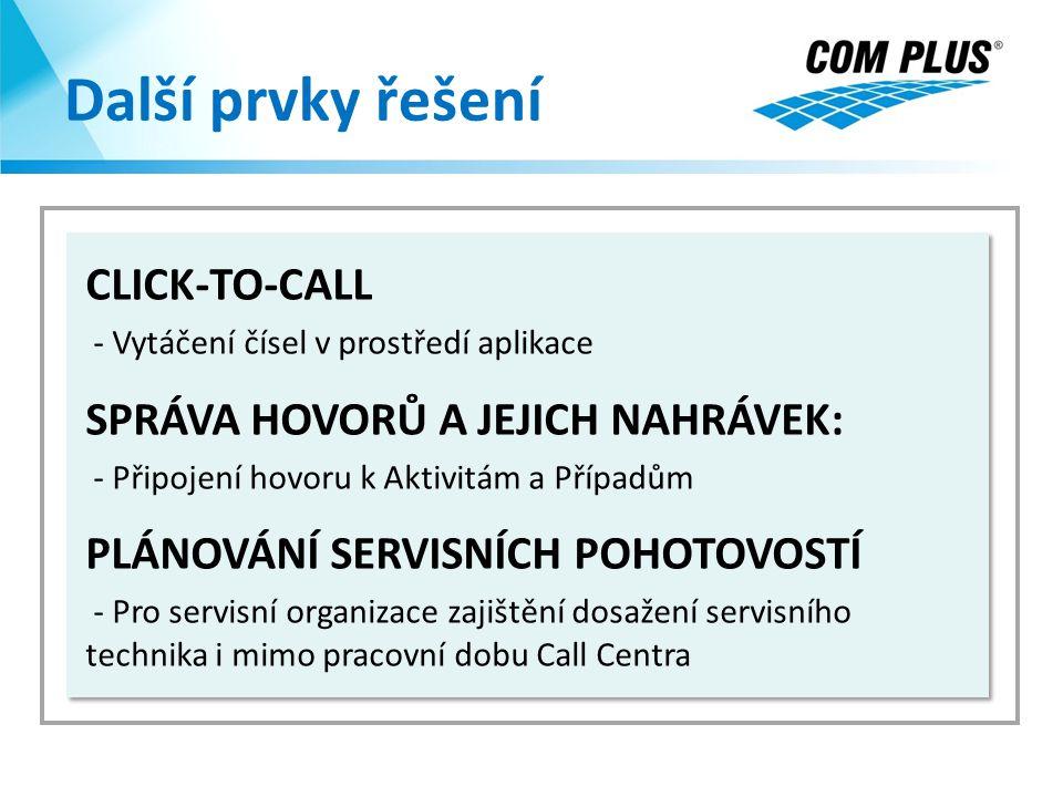 Další prvky řešení CLICK-TO-CALL - Vytáčení čísel v prostředí aplikace SPRÁVA HOVORŮ A JEJICH NAHRÁVEK: - Připojení hovoru k Aktivitám a Případům PLÁN