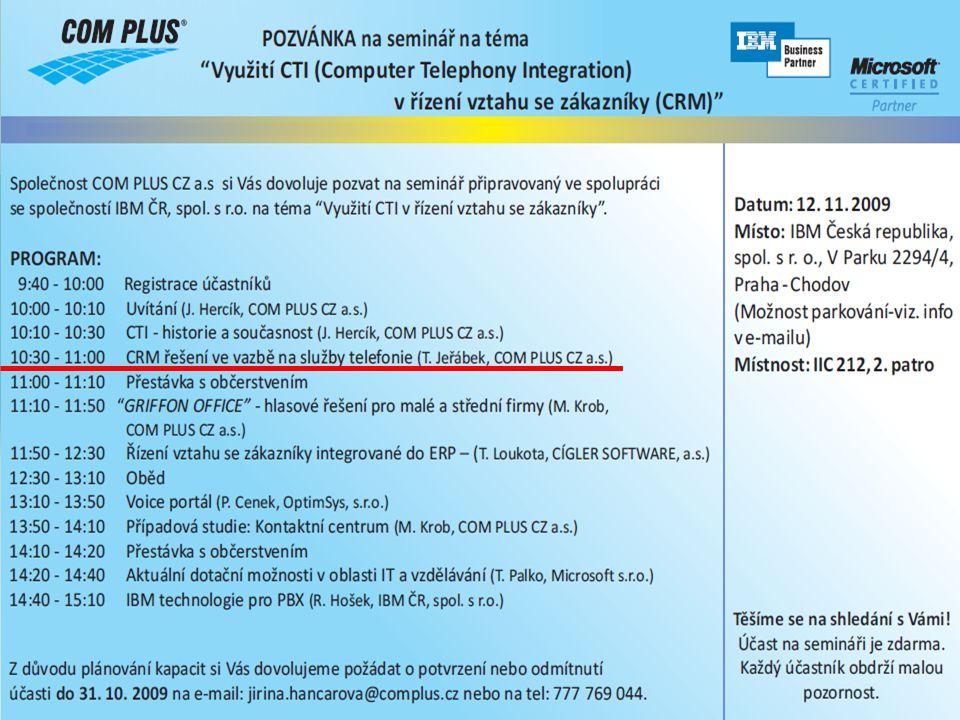Agenda 1.Microsoft Dynamics CRM 4.0 2.IP telefonie v Microsoft Dynamics CRM 4.0 3.Route mapa vývoje