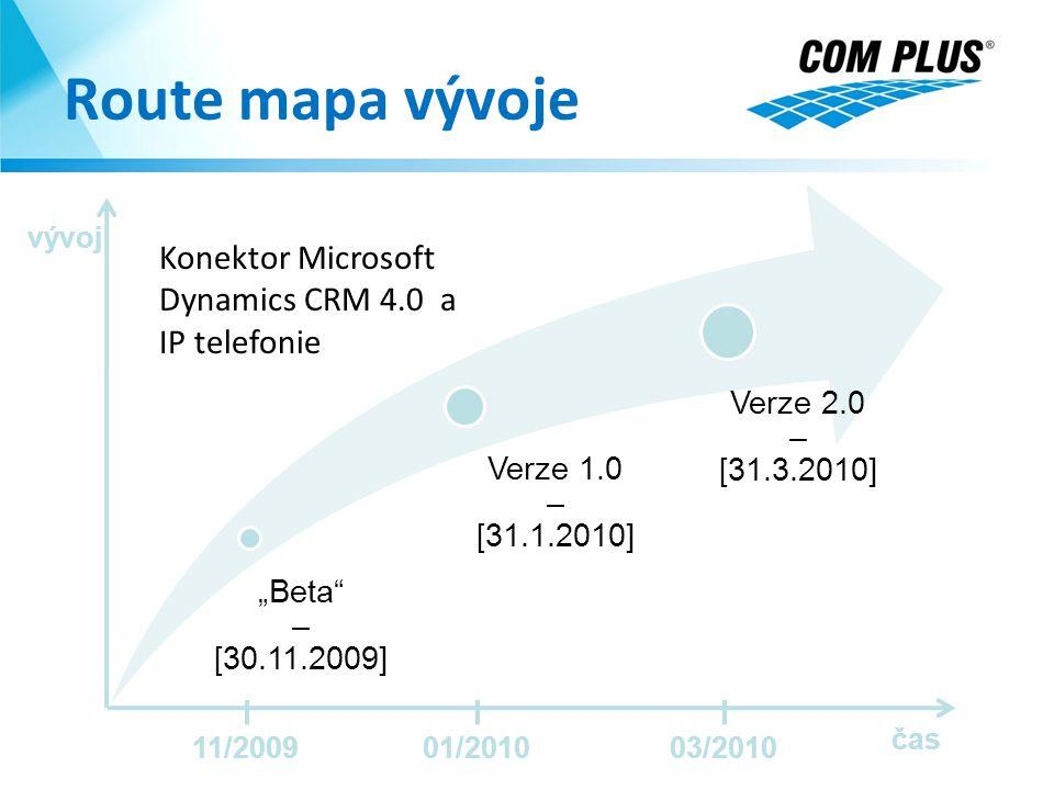 """Route mapa vývoje """"Beta"""" – [30.11.2009] Verze 1.0 – [31.1.2010] Verze 2.0 – [31.3.2010] Konektor Microsoft Dynamics CRM 4.0 a IP telefonie čas vývoj 1"""