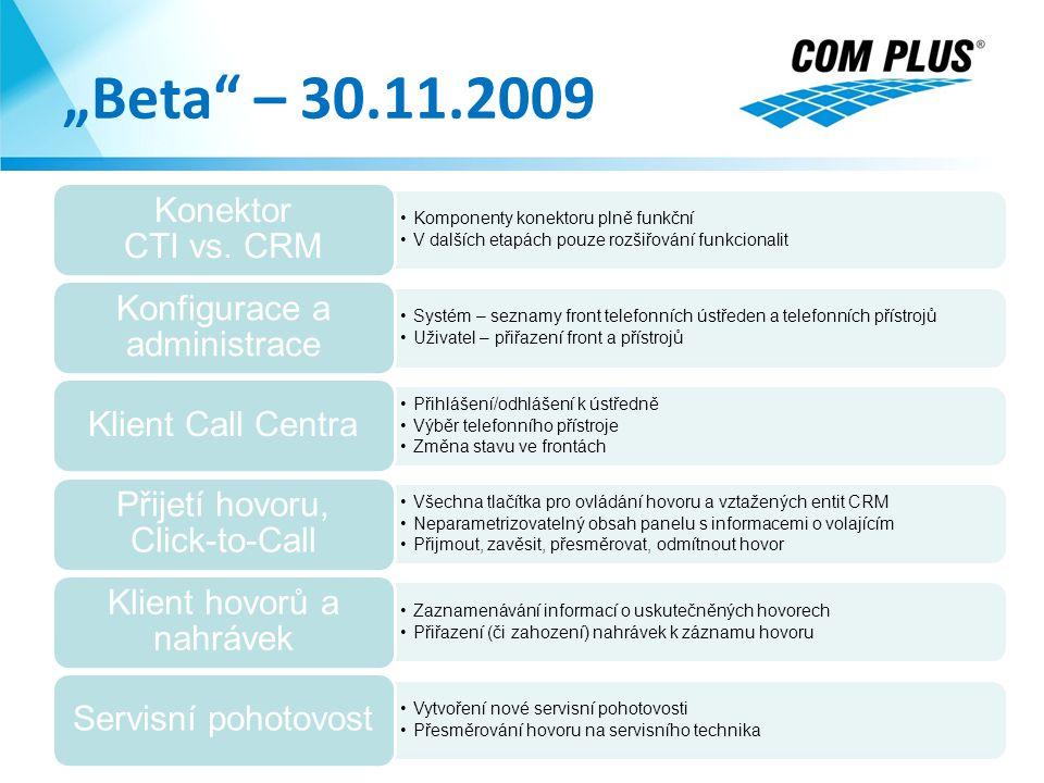 """""""Beta"""" – 30.11.2009 24.8.2014 Komponenty konektoru plně funkční V dalších etapách pouze rozšiřování funkcionalit Konektor CTI vs. CRM Systém – seznamy"""