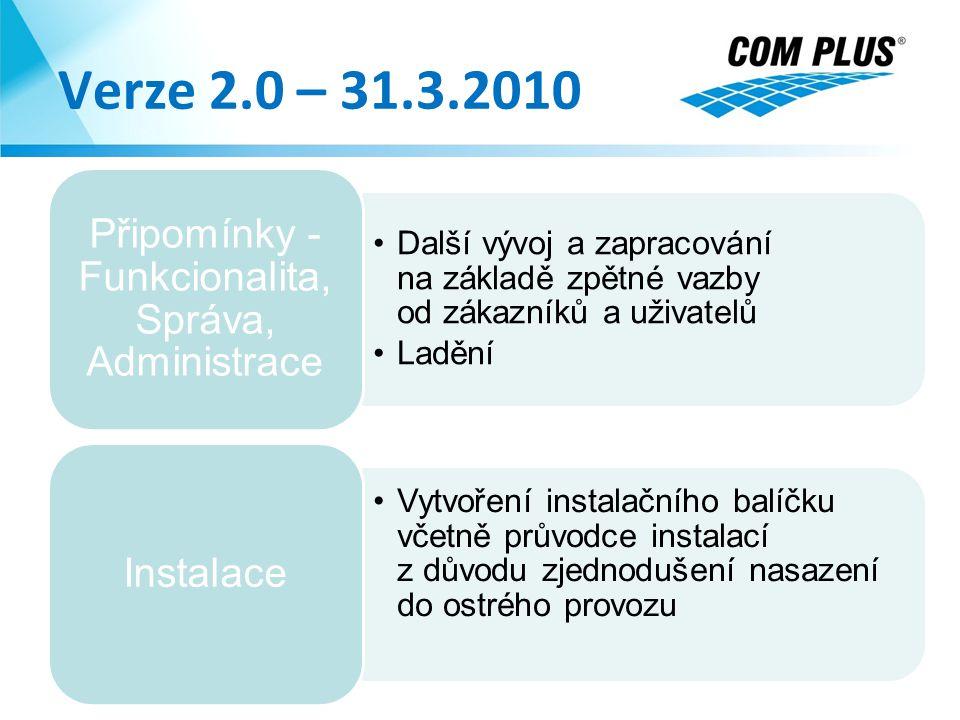 Verze 2.0 – 31.3.2010 24.8.2014 Další vývoj a zapracování na základě zpětné vazby od zákazníků a uživatelů Ladění Připomínky - Funkcionalita, Správa,