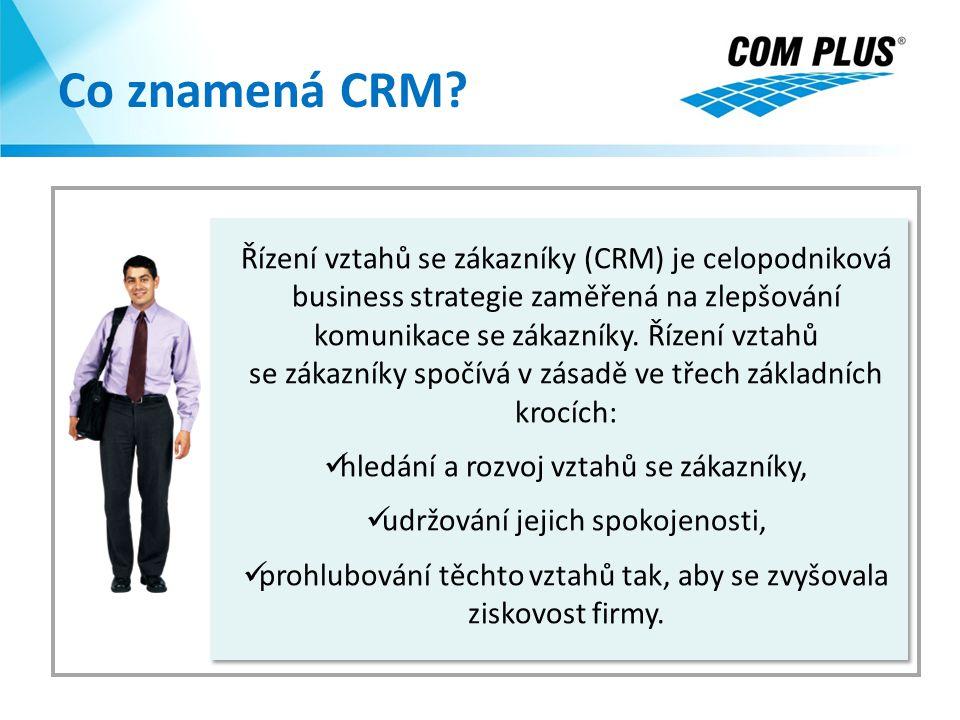 Co znamená CRM? Řízení vztahů se zákazníky (CRM) je celopodniková business strategie zaměřená na zlepšování komunikace se zákazníky. Řízení vztahů se