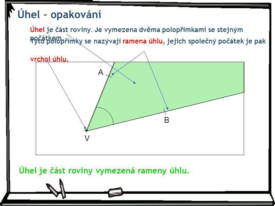 Úhel – opakování Úhel je část roviny. Je vymezen a dvěma polopřímkami se stejným počátkem. Tyto polopřímky se nazývají ramena úhlu, jejich společný po