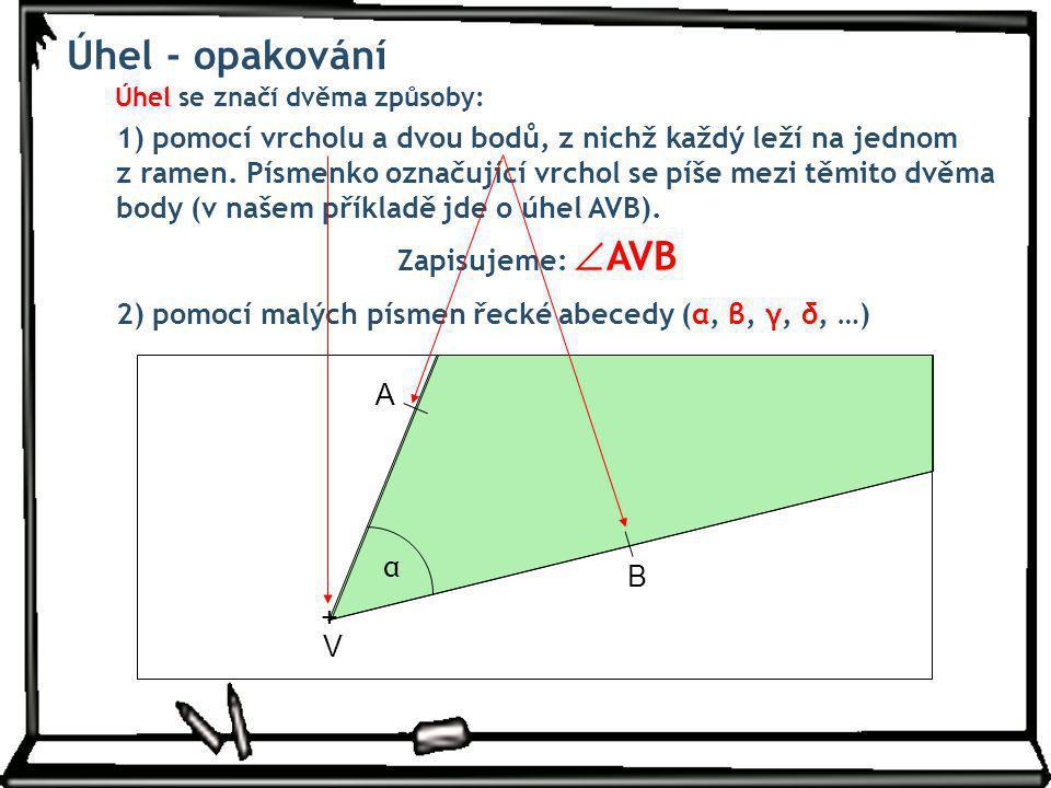 Úhel se značí dvěma způsoby: 1) pomocí vrcholu a dvou bodů, z nichž každý leží na jednom z ramen. Písmenko označující vrchol se píše mezi těmito dvěma