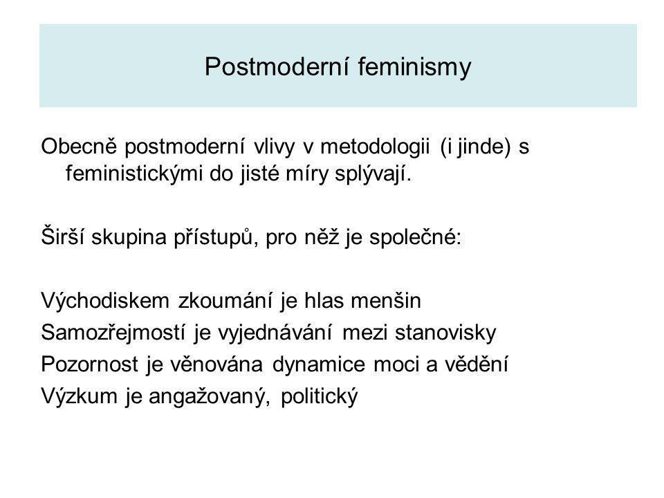 Postmoderní feminismy Obecně postmoderní vlivy v metodologii (i jinde) s feministickými do jisté míry splývají. Širší skupina přístupů, pro něž je spo