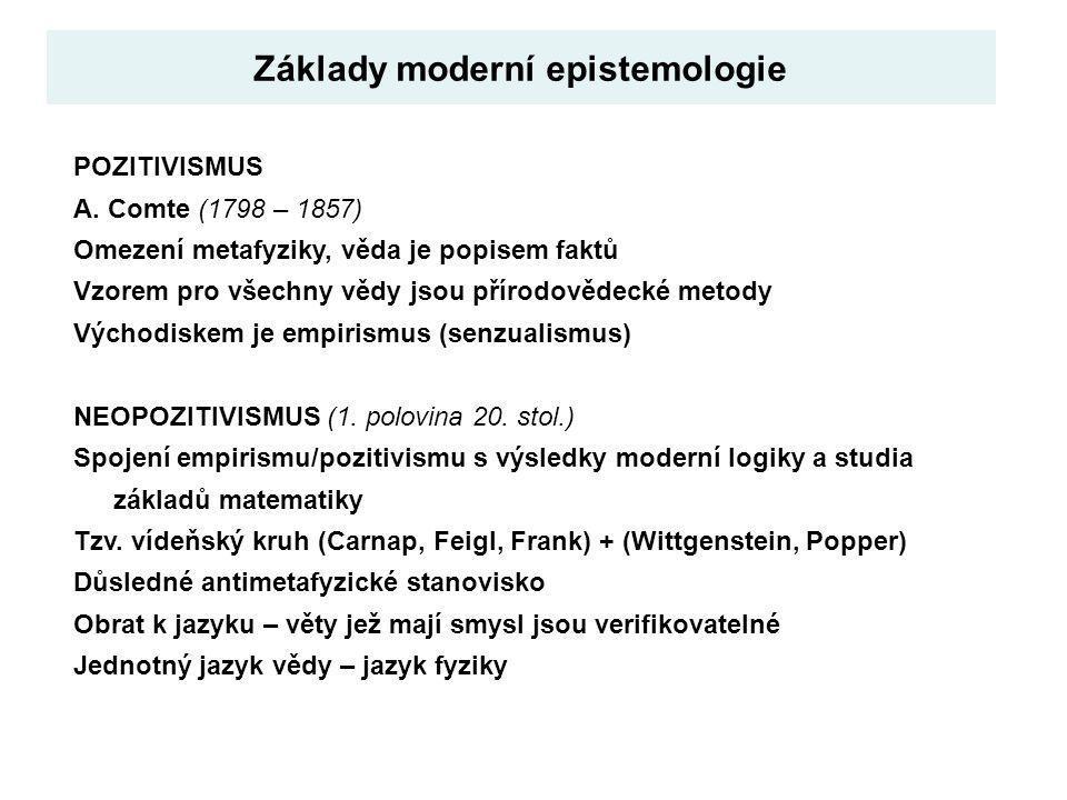 Základy moderní epistemologie POZITIVISMUS A. Comte (1798 – 1857) Omezení metafyziky, věda je popisem faktů Vzorem pro všechny vědy jsou přírodovědeck