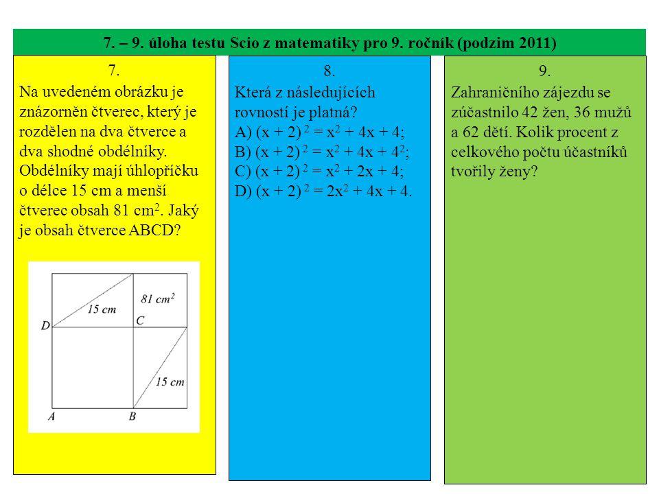 7. – 9. úloha testu Scio z matematiky pro 9. ročník (podzim 2011) 7. Na uvedeném obrázku je znázorněn čtverec, který je rozdělen na dva čtverce a dva