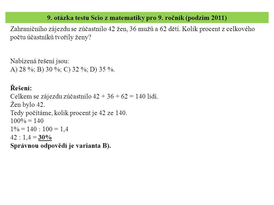 10.– 12. úloha testu Scio z matematiky pro 9. ročník (podzim 2011) 10.
