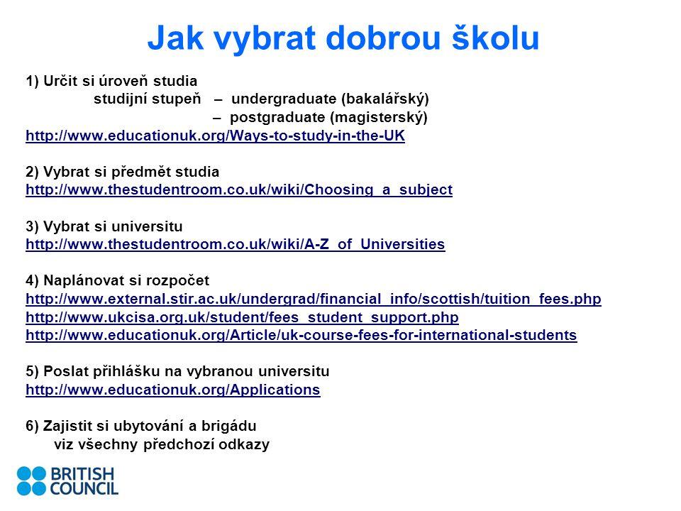 Jak vybrat dobrou školu 1) Určit si úroveň studia studijní stupeň – undergraduate (bakalářský) – postgraduate (magisterský) http://www.educationuk.org