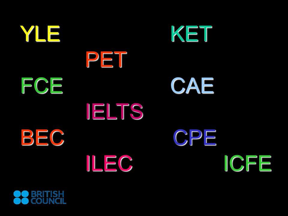 TYPY ZKOUŠEK Obecná angličtina: KET, PET, FCE, CAE, CPE nově: CB PET, CB FCE, CB CAE zkoušky PET, FCE, CAE lze skládat na počítači Odborná angličtina: BEC Preliminary, Vantage, Higher ILEC, ICFE Angličtina pro děti: YLE, KET & PET for schools Angličtina pro akademické účely: IELTS - 2 moduly