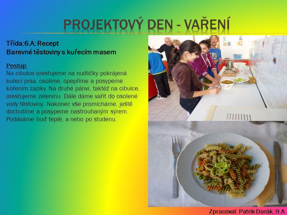 Zpracoval: Patrik Darák, 9.A Třída:7.A; Recept Postup: Vodu se solí a 1,5 lžičkou kari přivedeme do varu, vložíme špagety a uvaříme.