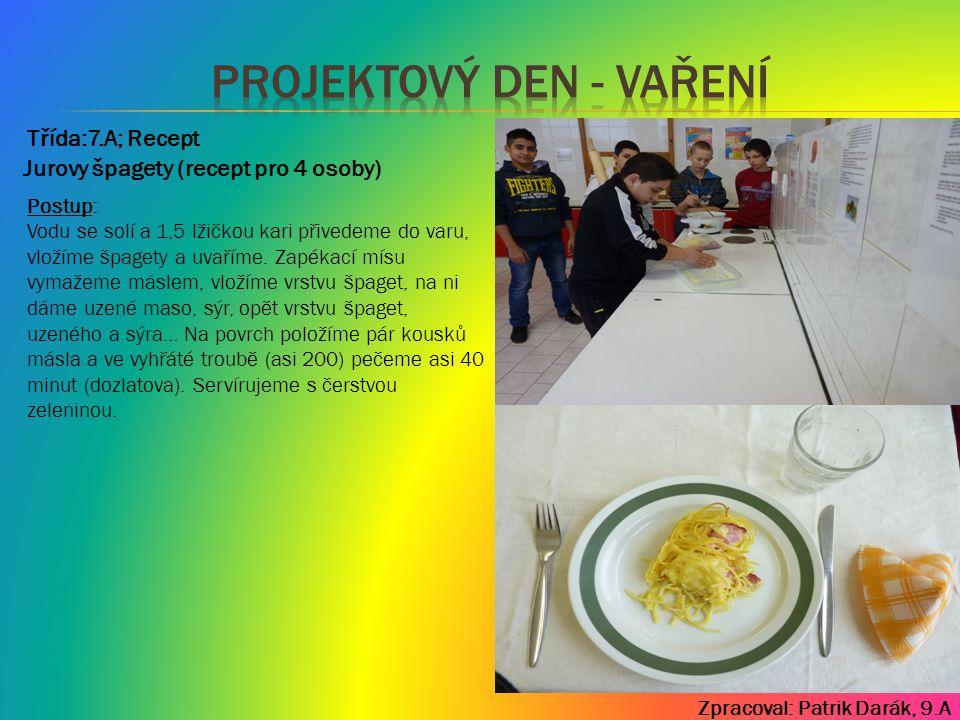 Zpracoval: Patrik Darák, 9.A Třída:7.A; Recept Postup: Vodu se solí a 1,5 lžičkou kari přivedeme do varu, vložíme špagety a uvaříme. Zapékací mísu vym