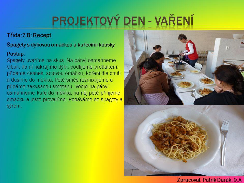 Zpracoval: Patrik Darák, 9.A Třída:7.B; Recept Postup: Špagety uvaříme na skus. Na pánvi osmahneme cibuli, do ní nakrájíme dýni, podlijeme protlakem,