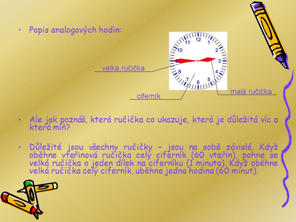 Analogové hodiny Analogové hodiny se skládají z ciferníku a dvou základních ručiček (malá udává hodinu, velká udává minuty). U některých analogových h