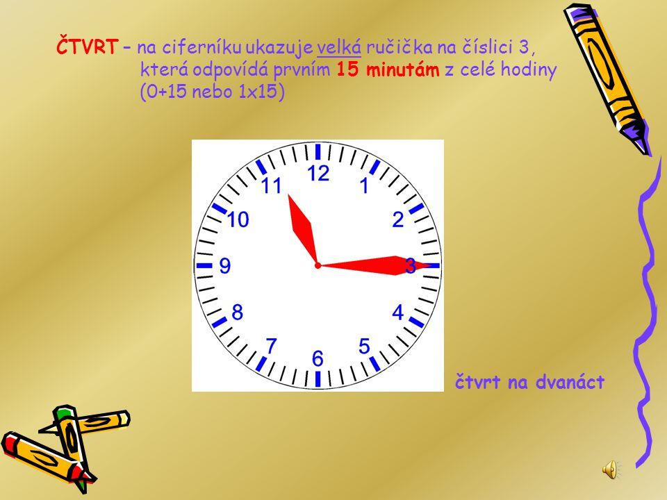 Určování času Než se začneme učit čas, musíme vědět, že hodinu dělíme na 4 stejné části: čtvrt, půl, tři čtvrtě, celá. Opakuj zvýrazněný text 5krát.