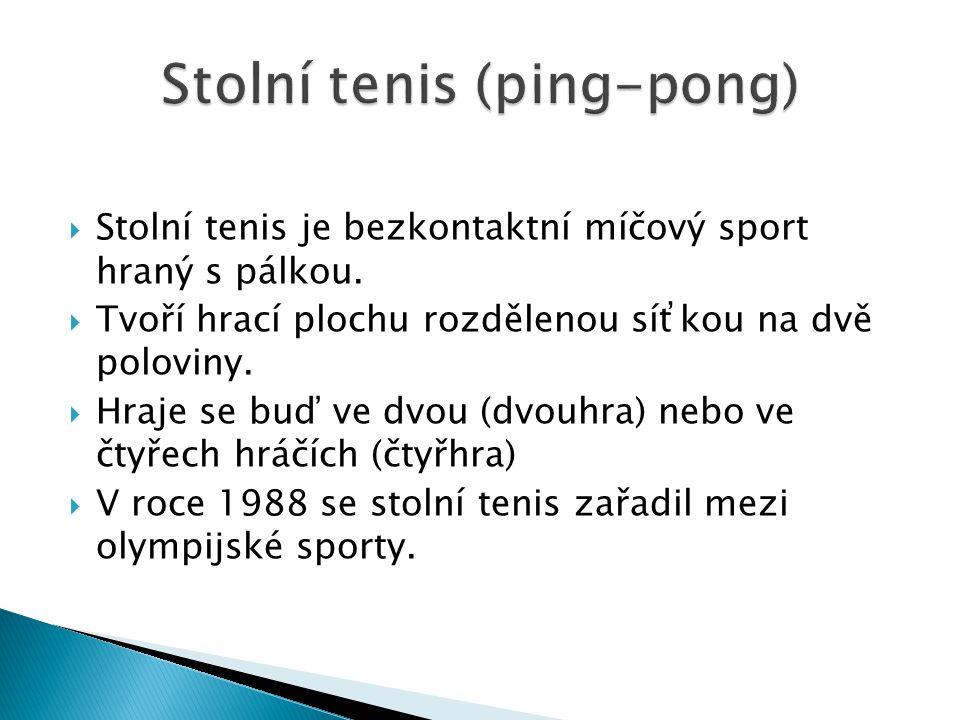  Stolní tenis je bezkontaktní míčový sport hraný s pálkou.  Tvoří hrací plochu rozdělenou síťkou na dvě poloviny.  Hraje se buď ve dvou (dvouhra) n