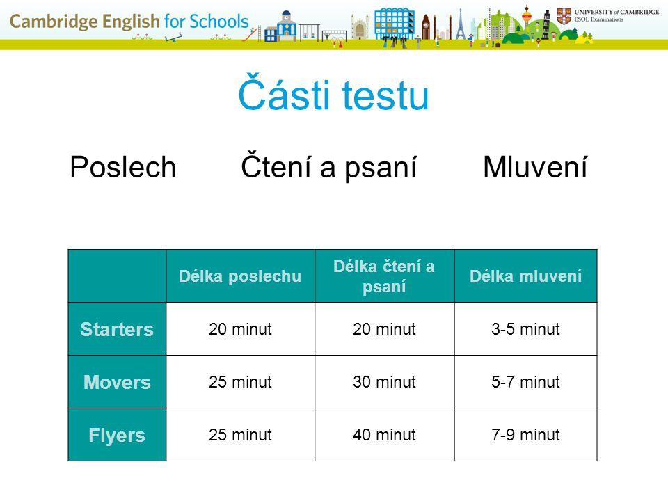 Části testu Délka poslechu Délka čtení a psaní Délka mluvení Starters 20 minut 3-5 minut Movers 25 minut30 minut5-7 minut Flyers 25 minut40 minut7-9 minut Poslech Čtení a psaní Mluvení