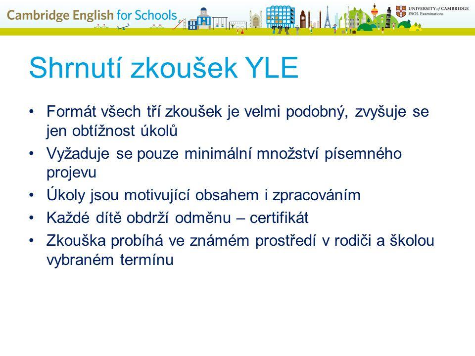 Shrnutí zkoušek YLE Formát všech tří zkoušek je velmi podobný, zvyšuje se jen obtížnost úkolů Vyžaduje se pouze minimální množství písemného projevu Úkoly jsou motivující obsahem i zpracováním Každé dítě obdrží odměnu – certifikát Zkouška probíhá ve známém prostředí v rodiči a školou vybraném termínu