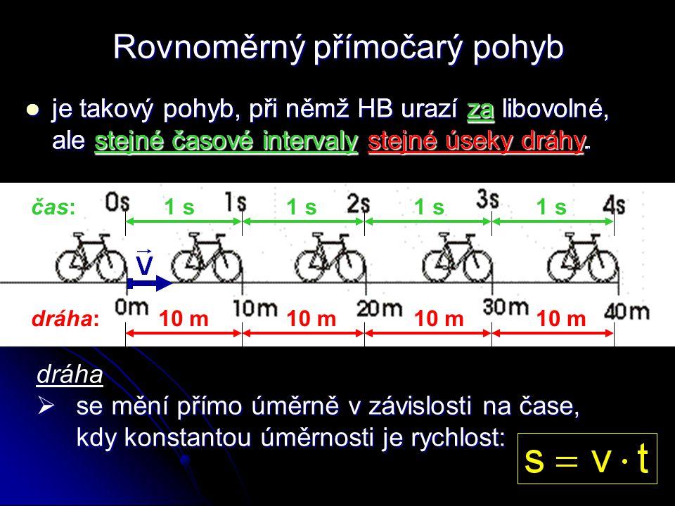 je takový pohyb, při němž HB urazí za libovolné, ale stejné časové intervaly stejné úseky dráhy. 10 mdráha:10 m 1 sčas:1 s za stejné časové intervaly