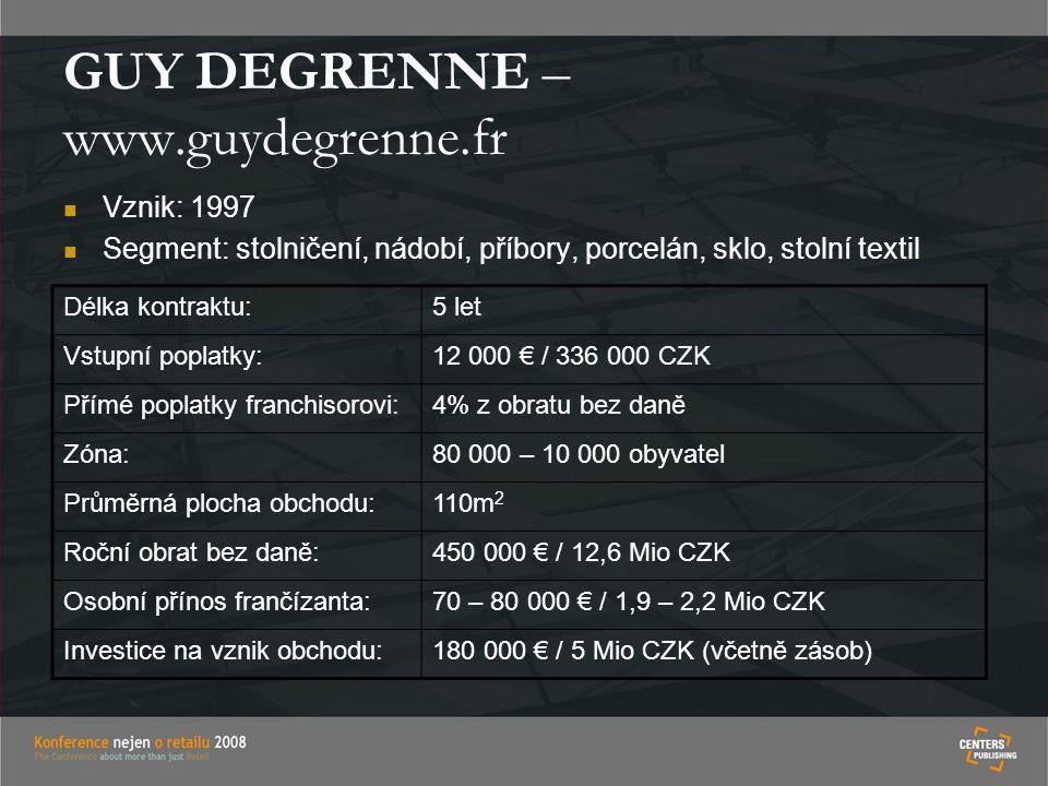 GUY DEGRENNE – www.guydegrenne.fr Vznik: 1997 Segment: stolničení, nádobí, příbory, porcelán, sklo, stolní textil Délka kontraktu:5 let Vstupní poplat