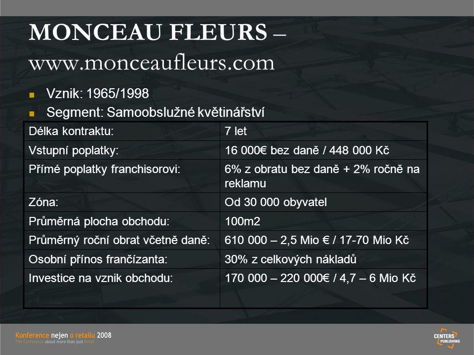 MONCEAU FLEURS – www.monceaufleurs.com Vznik: 1965/1998 Segment: Samoobslužné květinářství Délka kontraktu:7 let Vstupní poplatky:16 000€ bez daně / 448 000 Kč Přímé poplatky franchisorovi:6% z obratu bez daně + 2% ročně na reklamu Zóna:Od 30 000 obyvatel Průměrná plocha obchodu:100m2 Průměrný roční obrat včetně daně:610 000 – 2,5 Mio € / 17-70 Mio Kč Osobní přínos frančízanta:30% z celkových nákladů Investice na vznik obchodu:170 000 – 220 000€ / 4,7 – 6 Mio Kč