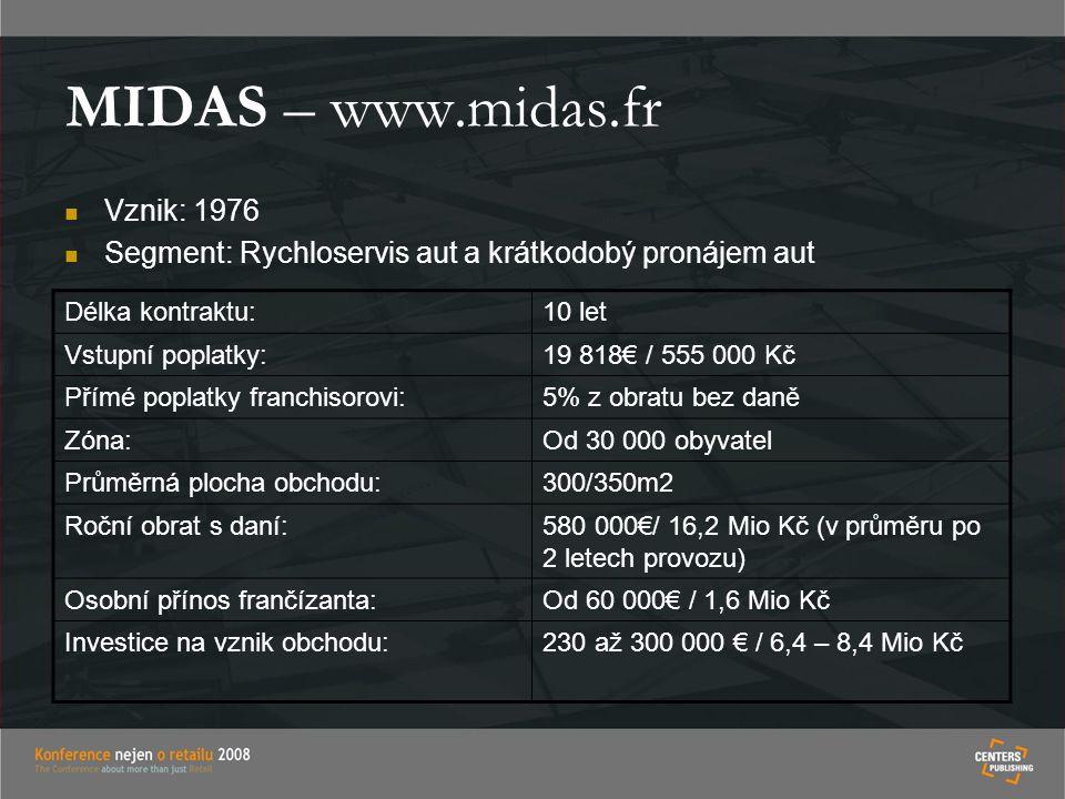 MIDAS – www.midas.fr Vznik: 1976 Segment: Rychloservis aut a krátkodobý pronájem aut Délka kontraktu:10 let Vstupní poplatky:19 818€ / 555 000 Kč Přím