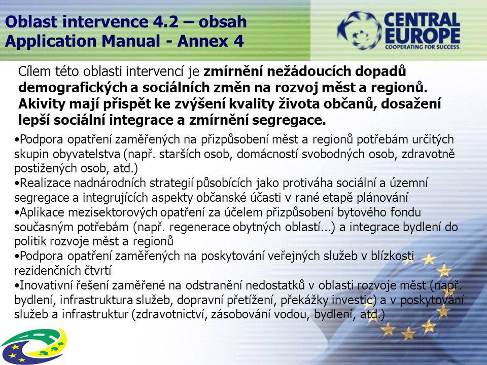 Oblast intervence 4.2 – obsah Application Manual - Annex 4 Cílem této oblasti intervencí je zmírnění nežádoucích dopadů demografických a sociálních změn na rozvoj měst a regionů.