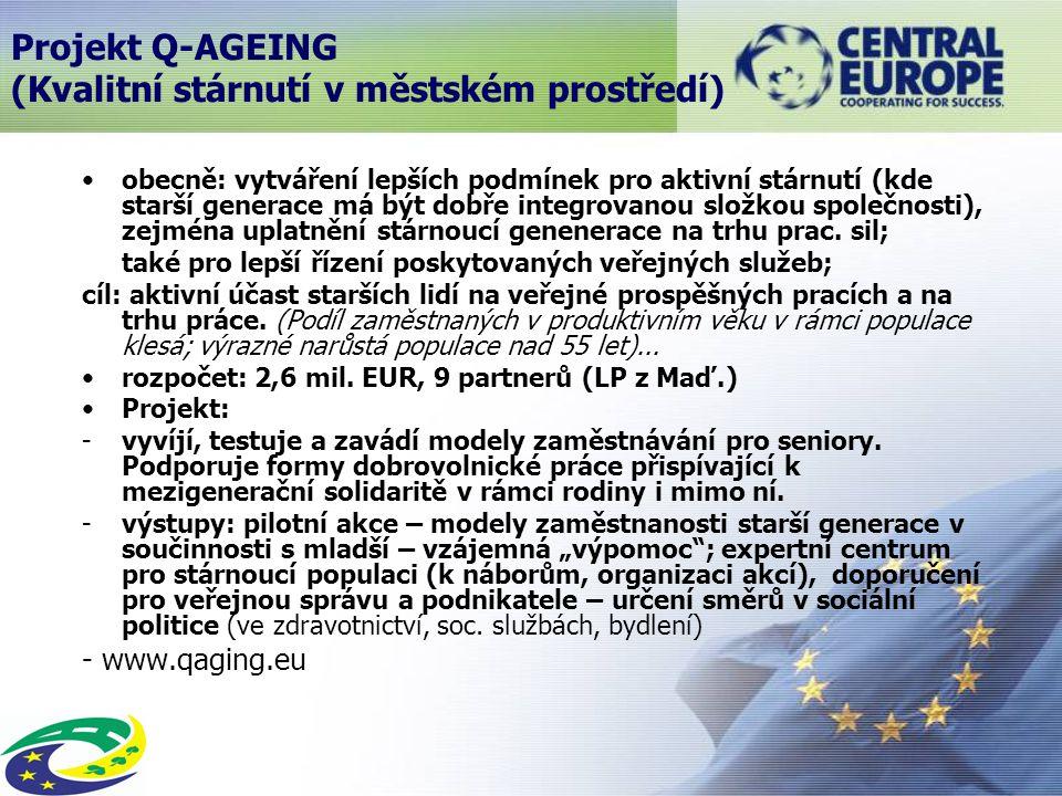 obecně: vytváření lepších podmínek pro aktivní stárnutí (kde starší generace má být dobře integrovanou složkou společnosti), zejména uplatnění stárnoucí genenerace na trhu prac.