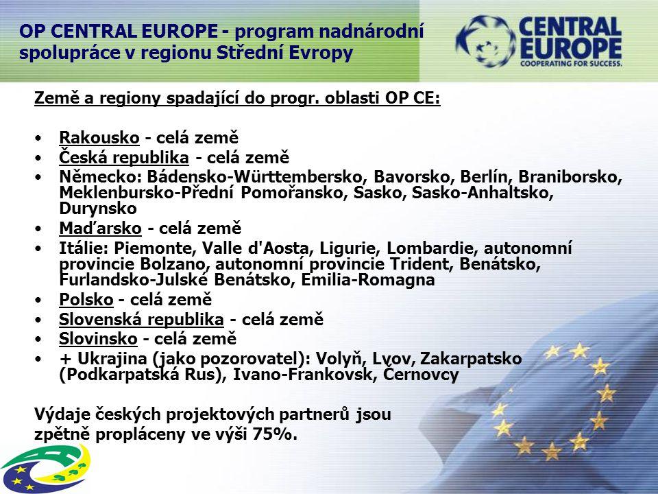 OP CENTRAL EUROPE - program nadnárodní spolupráce v regionu Střední Evropy Země a regiony spadající do progr.