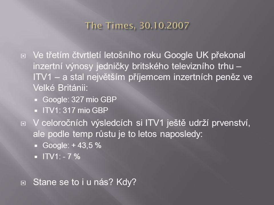  Ve třetím čtvrtletí letošního roku Google UK překonal inzertní výnosy jedničky britského televizního trhu – ITV1 – a stal největším příjemcem inzertních peněz ve Velké Británii:  Google: 327 mio GBP  ITV1: 317 mio GBP  V celoročních výsledcích si ITV1 ještě udrží prvenství, ale podle temp růstu je to letos naposledy:  Google: + 43,5 %  ITV1: - 7 %  Stane se to i u nás.