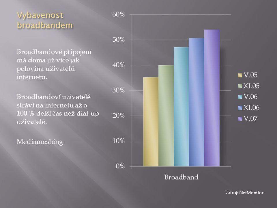 Vybavenost broadbandem Broadbandové připojení má doma již více jak polovina uživatelů internetu. Broadbandoví uživatelé stráví na internetu až o 100 %