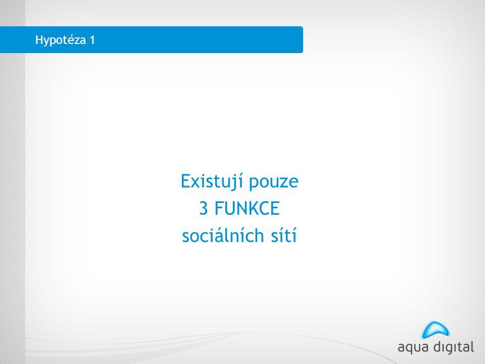 Hypotéza 1 Existují pouze 3 FUNKCE sociálních sítí