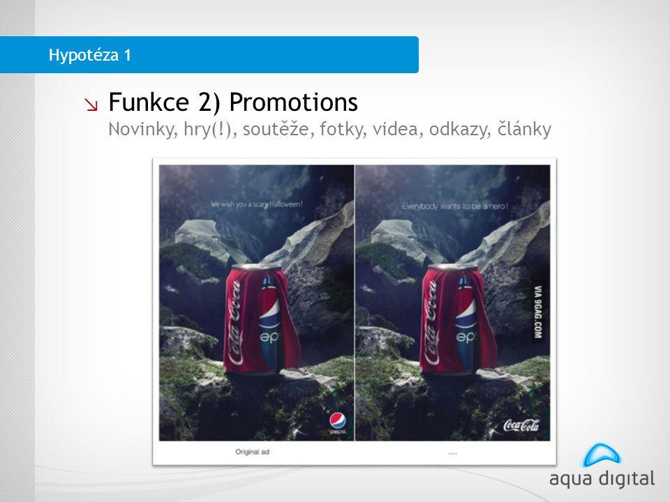 ↘ Funkce 2) Promotions Novinky, hry(!), soutěže, fotky, videa, odkazy, články Hypotéza 1