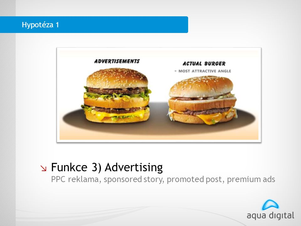 ↘ Funkce 3) Advertising PPC reklama, sponsored story, promoted post, premium ads Hypotéza 1