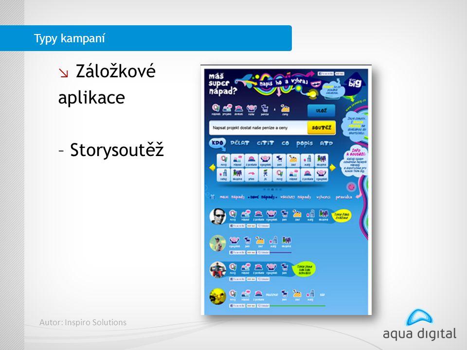 ↘ Záložkové aplikace – Storysoutěž Typy kampaní Autor: Inspiro Solutions
