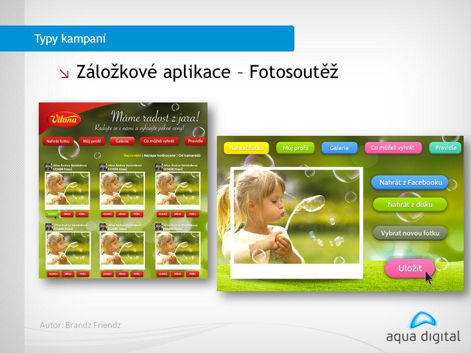 ↘ Záložkové aplikace – Fotosoutěž Typy kampaní Autor: Brandz Friendz